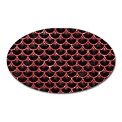 Scales3 Black Marble & Red Glitter (r) Oval Magnet by trendistuff