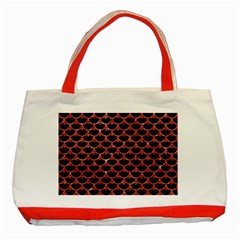 Scales3 Black Marble & Red Glitter (r) Classic Tote Bag (red) by trendistuff