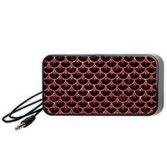 Scales3 Black Marble & Red Glitter (r) Portable Speaker by trendistuff