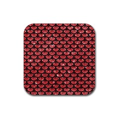 Scales3 Black Marble & Red Glitter Rubber Square Coaster (4 Pack)  by trendistuff
