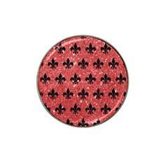 Royal1 Black Marble & Red Glitter (r) Hat Clip Ball Marker by trendistuff