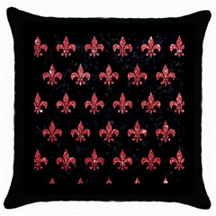 Royal1 Black Marble & Red Glitter Throw Pillow Case (black) by trendistuff