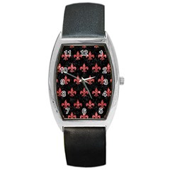 Royal1 Black Marble & Red Glitter Barrel Style Metal Watch by trendistuff