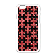 Puzzle1 Black Marble & Red Glitter Apple Iphone 6/6s White Enamel Case by trendistuff