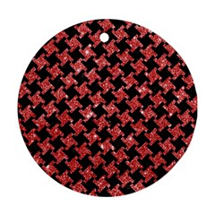 Houndstooth2 Black Marble & Red Glitterhoundstooth2 Black Marble & Red Glitter Round Ornament (two Sides) by trendistuff