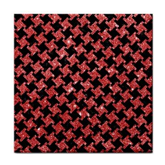 Houndstooth2 Black Marble & Red Glitterhoundstooth2 Black Marble & Red Glitter Face Towel by trendistuff