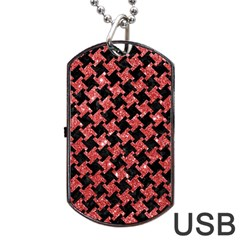 Houndstooth2 Black Marble & Red Glitterhoundstooth2 Black Marble & Red Glitter Dog Tag Usb Flash (one Side) by trendistuff
