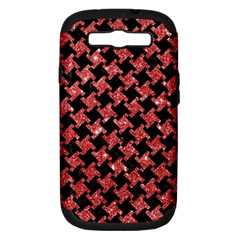 Houndstooth2 Black Marble & Red Glitterhoundstooth2 Black Marble & Red Glitter Samsung Galaxy S Iii Hardshell Case (pc+silicone) by trendistuff