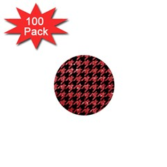 Houndstooth1 Black Marble & Red Glitter 1  Mini Buttons (100 Pack)  by trendistuff
