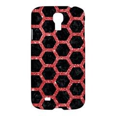 Hexagon2 Black Marble & Red Glitter (r) Samsung Galaxy S4 I9500/i9505 Hardshell Case by trendistuff