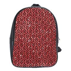 Hexagon1 Black Marble & Red Glitter School Bag (large) by trendistuff