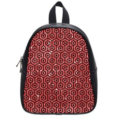 Hexagon1 Black Marble & Red Glitter School Bag (small) by trendistuff