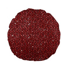 Hexagon1 Black Marble & Red Glitter Standard 15  Premium Flano Round Cushions by trendistuff