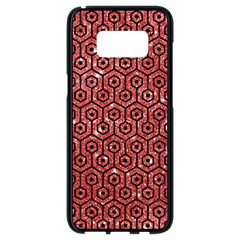 Hexagon1 Black Marble & Red Glitter Samsung Galaxy S8 Black Seamless Case by trendistuff