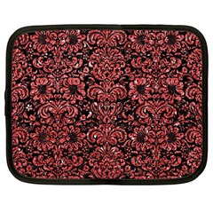 Damask2 Black Marble & Red Glitter (r) Netbook Case (large) by trendistuff