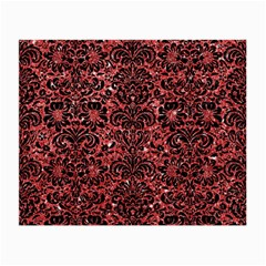Damask2 Black Marble & Red Glitter Small Glasses Cloth by trendistuff