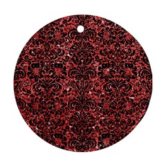Damask2 Black Marble & Red Glitter Round Ornament (two Sides) by trendistuff