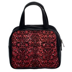 Damask2 Black Marble & Red Glitter Classic Handbags (2 Sides) by trendistuff