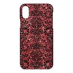Damask2 Black Marble & Red Glitter Apple Iphone X Hardshell Case