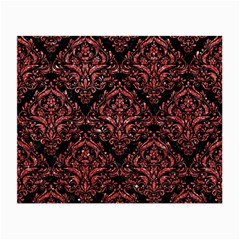Damask1 Black Marble & Red Glitter (r) Small Glasses Cloth by trendistuff