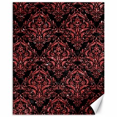Damask1 Black Marble & Red Glitter (r) Canvas 11  X 14   by trendistuff