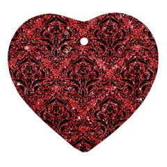 Damask1 Black Marble & Red Glitter Heart Ornament (two Sides) by trendistuff