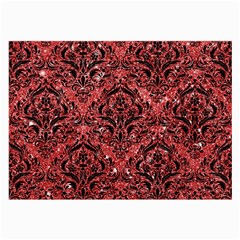 Damask1 Black Marble & Red Glitter Large Glasses Cloth (2 Side) by trendistuff