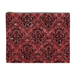 Damask1 Black Marble & Red Glitter Cosmetic Bag (xl) by trendistuff