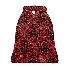 Damask1 Black Marble & Red Glitter Ornament (bell) by trendistuff