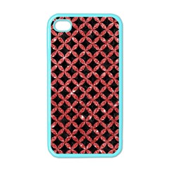 Circles3 Black Marble & Red Glitter (r) Apple Iphone 4 Case (color)