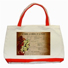 Letter Floral Classic Tote Bag (red) by vintage2030