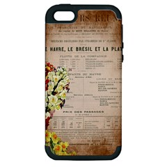 Letter Floral Apple Iphone 5 Hardshell Case (pc+silicone) by vintage2030