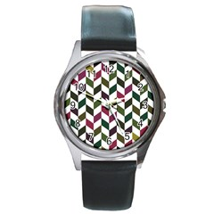 Zigzag Chevron Pattern Green Purple Round Metal Watch by vintage2030