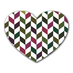 Zigzag Chevron Pattern Green Purple Heart Mousepads by vintage2030