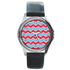 Zigzag Chevron Pattern Blue Red Round Metal Watch by vintage2030