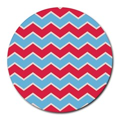 Zigzag Chevron Pattern Blue Red Round Mousepads by vintage2030