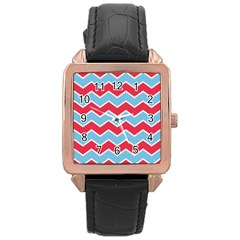 Zigzag Chevron Pattern Blue Red Rose Gold Leather Watch  by vintage2030