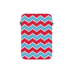 Zigzag Chevron Pattern Blue Red Apple Ipad Mini Protective Soft Cases by vintage2030
