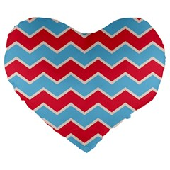 Zigzag Chevron Pattern Blue Red Large 19  Premium Flano Heart Shape Cushions by vintage2030