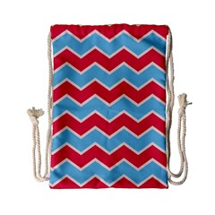 Zigzag Chevron Pattern Blue Red Drawstring Bag (small) by vintage2030
