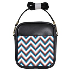 Zigzag Chevron Pattern Blue Magenta Girls Sling Bags by vintage2030