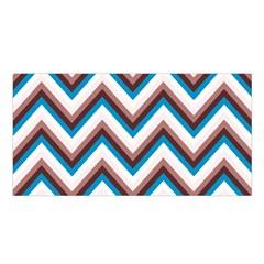Zigzag Chevron Pattern Blue Magenta Satin Shawl by vintage2030