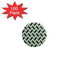 Zigzag Chevron Pattern Green Black 1  Mini Magnets (100 Pack)  by vintage2030