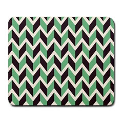 Zigzag Chevron Pattern Green Black Large Mousepads by vintage2030