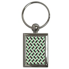 Zigzag Chevron Pattern Green Black Key Chains (rectangle)  by vintage2030