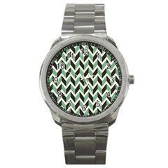 Zigzag Chevron Pattern Green Black Sport Metal Watch by vintage2030