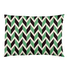 Zigzag Chevron Pattern Green Black Pillow Case by vintage2030
