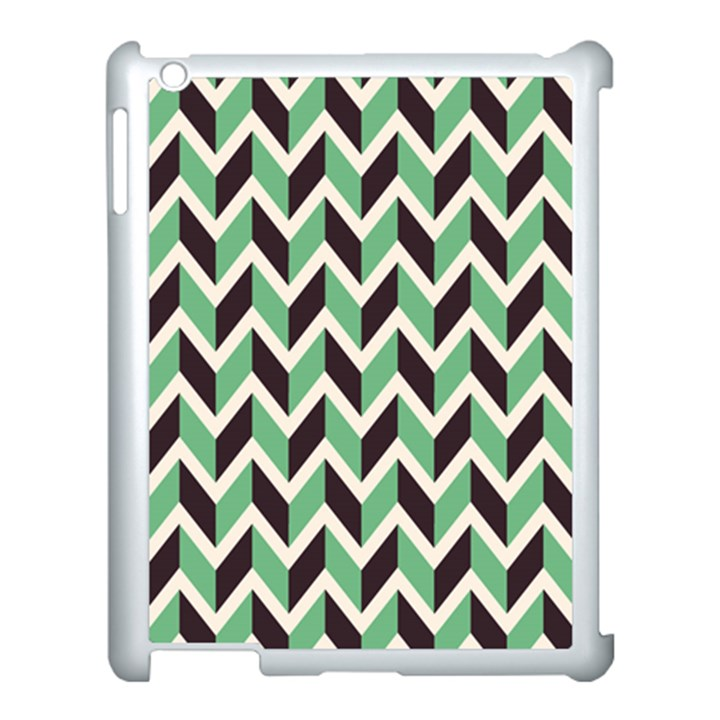 Zigzag Chevron Pattern Green Black Apple iPad 3/4 Case (White)
