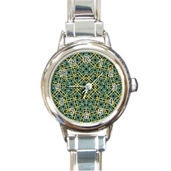 Arabesque Seamless Pattern Round Italian Charm Watch by dflcprints