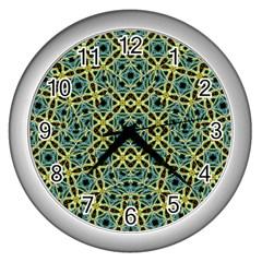 Arabesque Seamless Pattern Wall Clocks (silver)  by dflcprints